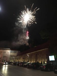 Fireworks over the old town wall of Zadar at night